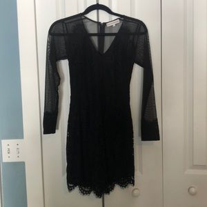 Black Sheer Cocktail Dress with Lace Trim - Small